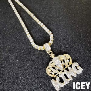 18K Gold Plated King Crown Tennis Chain